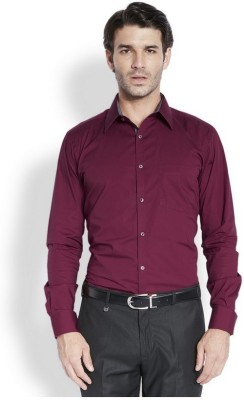 Park Avenue Men,s Solid Formal Maroon Shirt