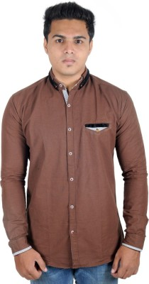 Yomaa Men's Solid Casual Brown Shirt