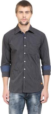 BlackRooster Men's Striped Casual Black Shirt