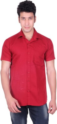 PICKLE Men's Solid Formal Red Shirt