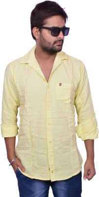 Lee Mark Men's Solid Casual Yellow Shirt