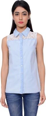 Lamora Women's Solid Casual Denim Blue Shirt