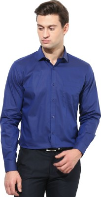 First Row Men's Solid Formal Blue Shirt