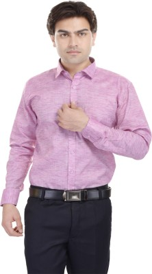Kalrav Men's Solid Casual, Formal, Party Pink Shirt