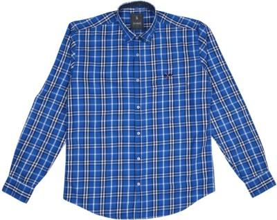 Esoft Men's Checkered Casual Blue Shirt