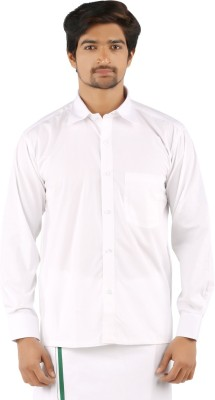 SRS Men's Solid Casual White Shirt