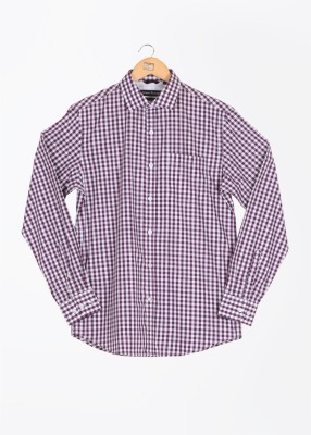 John Players Men's Checkered Formal White, Purple Shirt