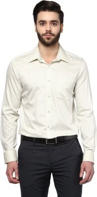 London Bridge Men's Printed Formal Beige Shirt
