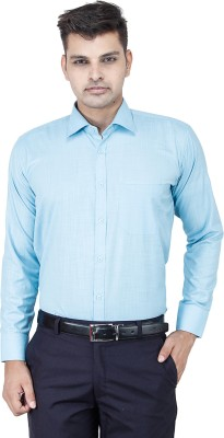 FranklinePlus Men's Solid Formal Blue Shirt