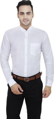 LEAF Men's Solid Formal White Shirt