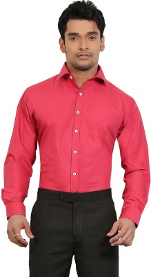 A & C Signature Men's Solid Casual Red Shirt