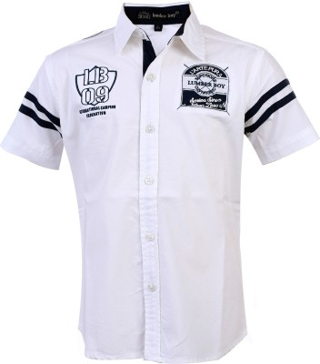 Lumber Boy Boy,s Printed, Embroidered Casual White Shirt