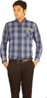 Orojns Formal Shirts (Men's) - Orojns Men's Checkered Formal Blue Shirt