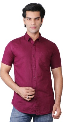 ROYALTY MILAN Men's Solid Casual Maroon Shirt