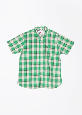 U.S. Polo Assn. Boy's Checkered Casual White, Green Shirt