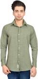 Libisto Men's Checkered Casual Green Shi...