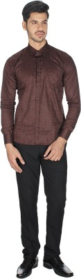 Shaurya-F Men's Printed Casual Brown Shirt