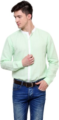 Azo Men's Solid Casual Linen Green Shirt