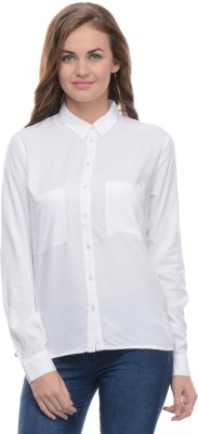 Moderno Women's Solid Formal White Shirt