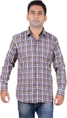 Aces Blue Men's Checkered Casual Brown Shirt