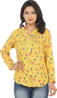 Adhaans Women,s Printed Casual Yellow Shirt