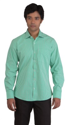 BearBerry Men's Checkered Casual Green, White Shirt