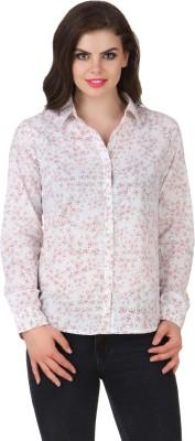 Silk Weavers Women's Printed Casual White Shirt