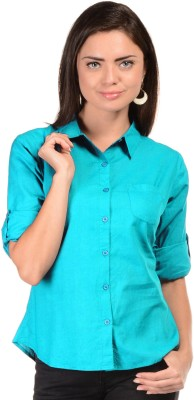 U&F Womens Solid Formal Light Blue Shirt