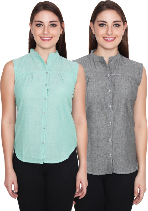 NumBrave Women's Solid Casual Green, Grey Shirt(Pack of 2)