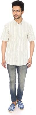 Kalaa Men's Striped Casual White, Yellow Shirt