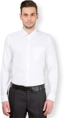 Black Coffee Men's Solid Casual White Shirt