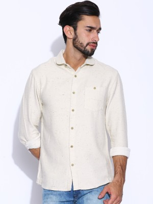 883 Police Men's Solid Casual Beige Shirt