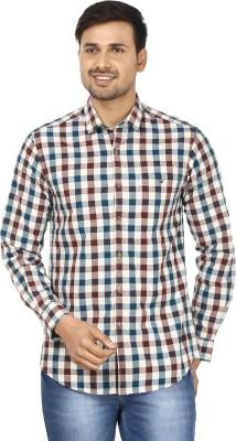 Wills Lifestyle Men's Checkered Casual Dark Blue, Maroon Shirt