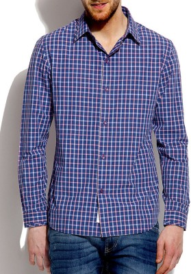 Roar and Growl Men,s Checkered Casual Blue Shirt