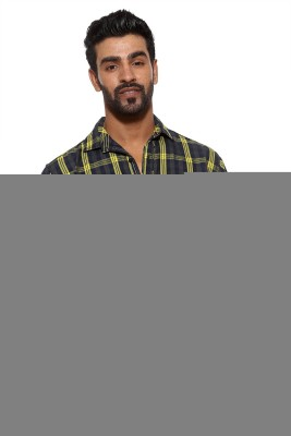 FIFTY TWO Men's Checkered Casual Yellow Shirt