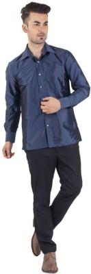 Warrior Men's Self Design Casual Blue Shirt