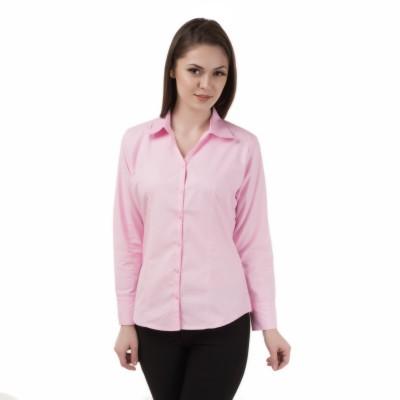 Apoyo Women's Solid Formal Pink Shirt