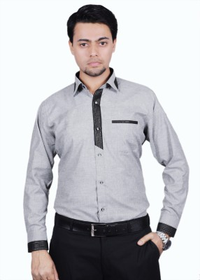 The Mods Men's Solid Casual Grey, Black Shirt