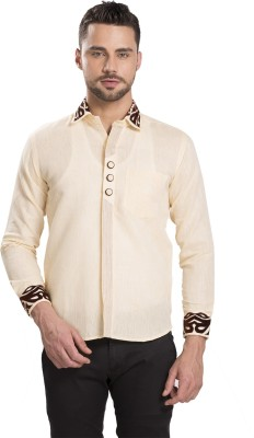 Ishin Men's Self Design Casual Beige Shirt