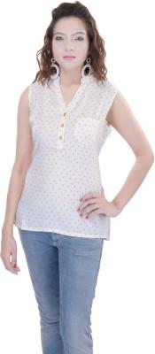 OVIYA Women,s Printed Casual Beige Shirt