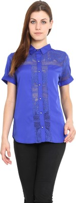 Urban Helsinki Women's Solid Casual Blue Shirt