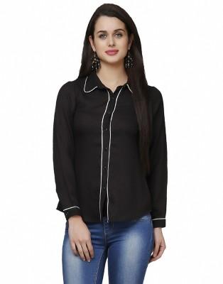 Eavan Women's Solid Casual Black Shirt