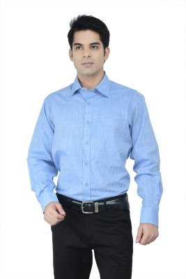 Alpha Centauri Men's Solid Formal Blue Shirt