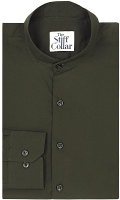 The Stiff Collar Men's Solid Formal Green Shirt