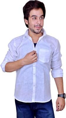 Mc-John Men's Solid Casual Linen White Shirt