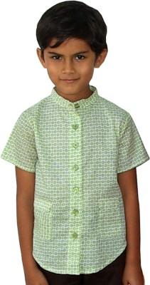 Aummade Boy's Printed, Floral Print Casual Green, White Shirt