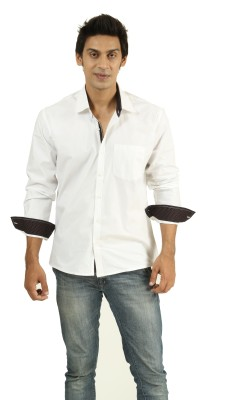 Frissk Men's Solid Casual White Shirt