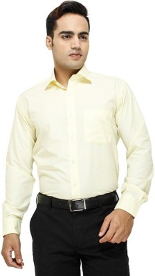 Regalfit Men's Solid Formal Yellow Shirt