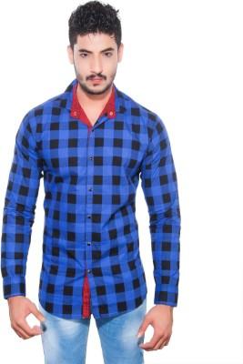Goodkarma Men's Self Design Casual Blue, Black Shirt