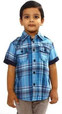 Bio Kid Boy's Checkered Casual Blue Shirt
